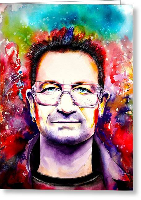 Live Music Mixed Media Greeting Cards - My colors for Bono Greeting Card by Isabel Salvador