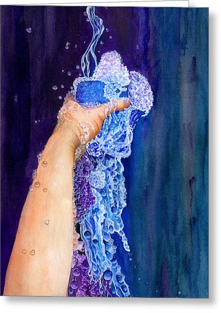 Pouring Greeting Cards - My Cup Runneth Over Greeting Card by Nancy Cupp