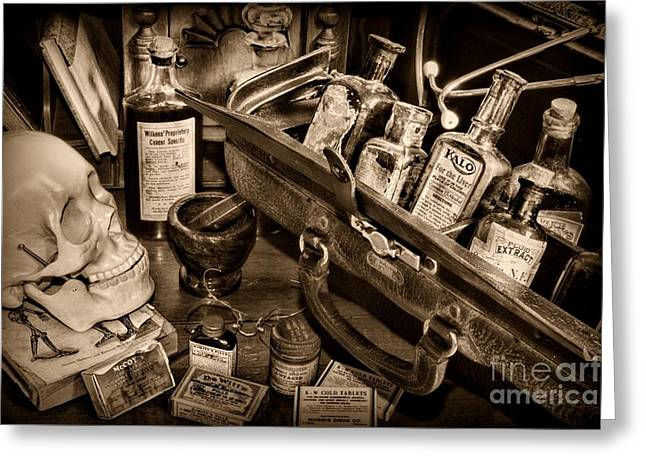 Md Greeting Cards - My Doctors Desk in Sepia Greeting Card by Paul Ward