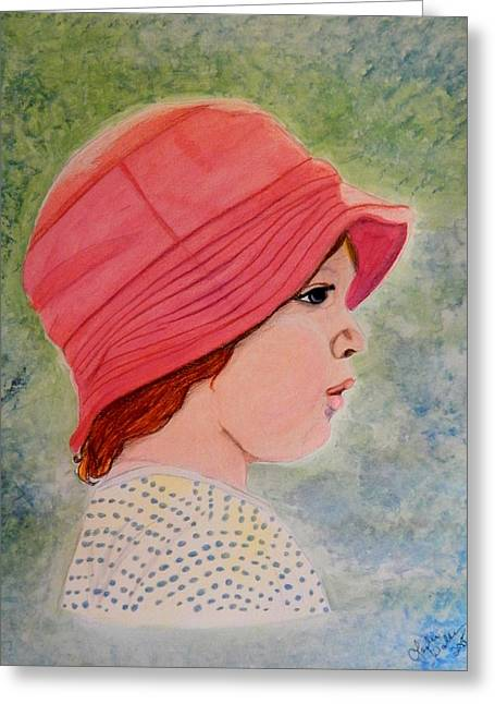 Prisma Colored Pencil Drawings Greeting Cards - My Favorite Hat Greeting Card by Leslie Walker