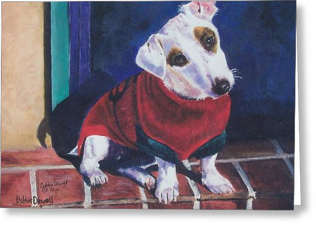 Dog Sweaters Greeting Cards - My Festive Red Sweater Greeting Card by Bobbie Deuell
