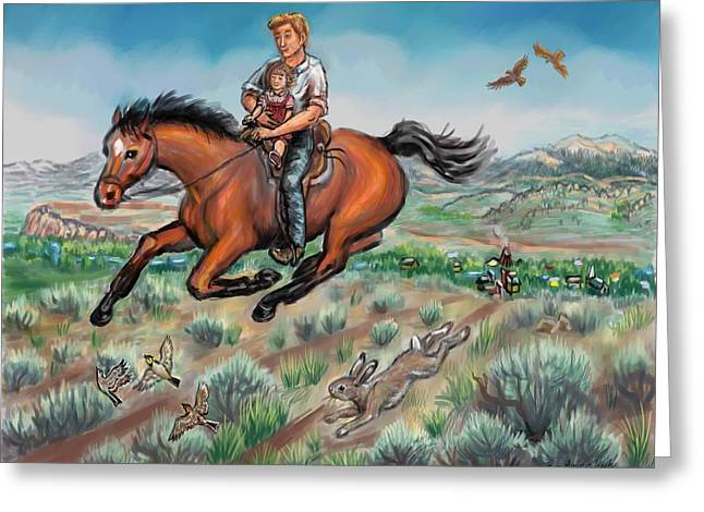 Horned Larks Greeting Cards - My First Horseback Ride Greeting Card by Dawn Senior-Trask