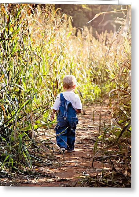 Overalls Digital Greeting Cards - My First Maze Greeting Card by Lana Trussell