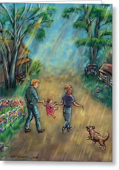 Family Walks Drawings Greeting Cards - My First Memory Greeting Card by Dawn Senior-Trask