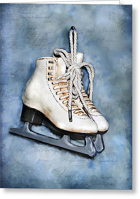 Figures Mixed Media Greeting Cards - My first pair of skates Greeting Card by Renee Dawson