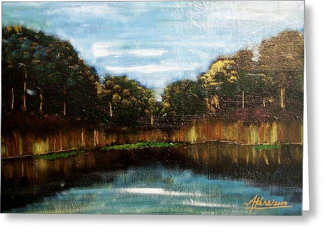 My Fishing Hole Greeting Card by Edmund Akers