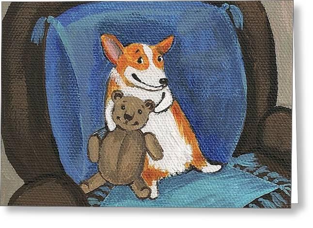 Toy Shop Greeting Cards - My Friend Teddy Greeting Card by Margaryta Yermolayeva