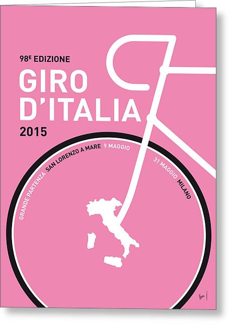 Pink Digital Greeting Cards - My Giro Ditalia Minimal Poster 2015 Greeting Card by Chungkong Art