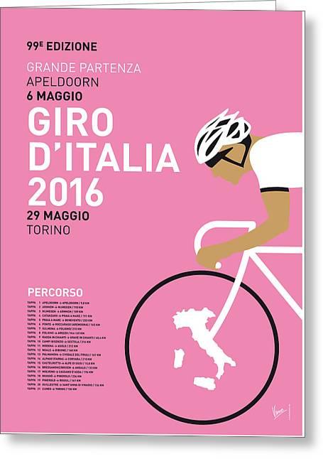 My Giro Ditalia Minimal Poster 2016 Greeting Card by Chungkong Art
