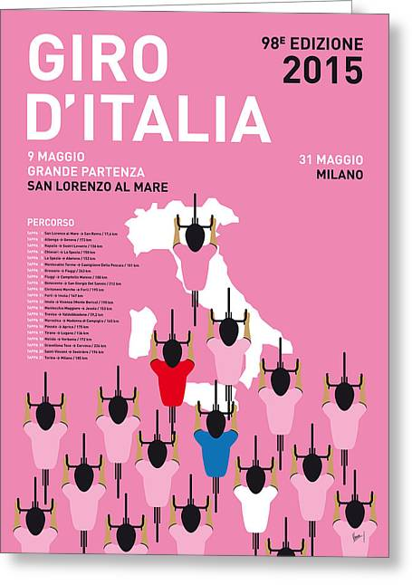 Yellows Greeting Cards - MY GIRO DITALIA MINIMAL POSTER Percorso 2015 Greeting Card by Chungkong Art