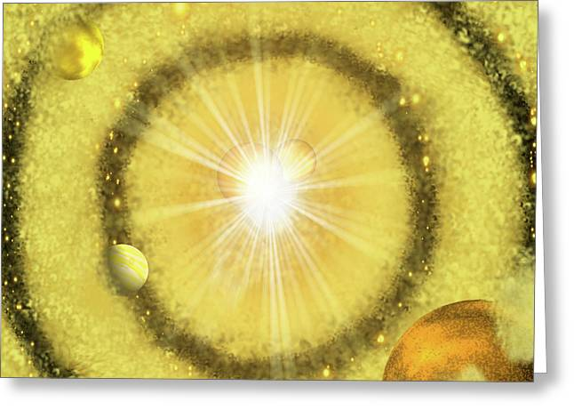My Space Greeting Cards - My Golden Universe Greeting Card by Methune Hively