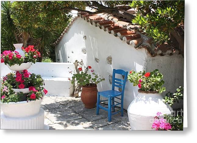 Yvonne Ayoub Greeting Cards - My Greek Garden Greeting Card by Yvonne Ayoub