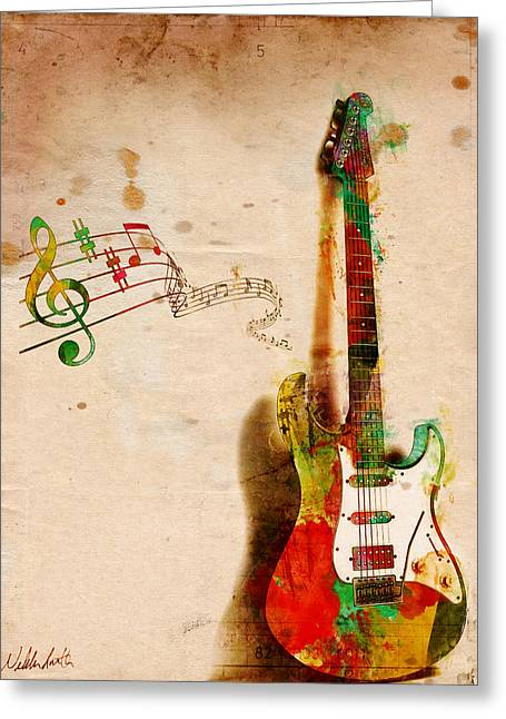 String Art Greeting Card featuring the digital art My Guitar Can Sing by Nikki Smith