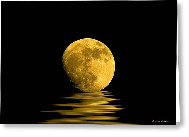 Lakes Digital Greeting Cards - My Harvest Moon Greeting Card by Lynn Andrews