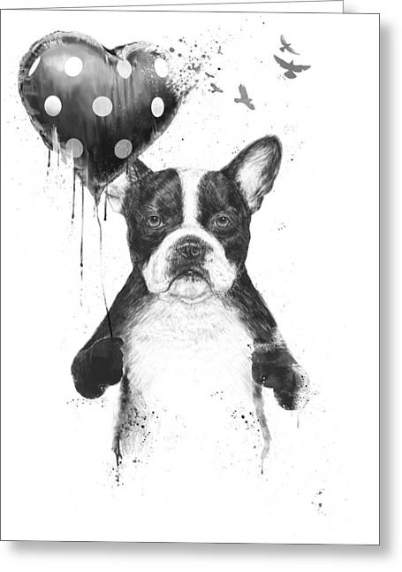 Bulldog Greeting Cards - My heart goes boom Greeting Card by Balazs Solti