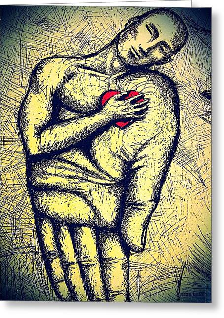 Vital Organ Mixed Media Greeting Cards - My Heart in Your Hand Greeting Card by Paulo Zerbato