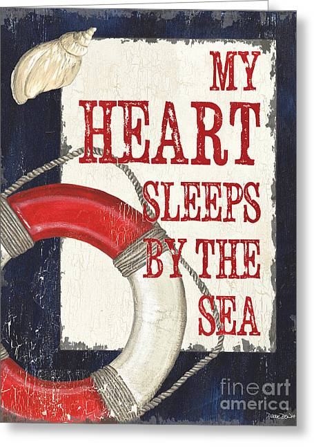 Beach House Paintings Greeting Cards - My Heart Sleeps by the Sea Greeting Card by Debbie DeWitt