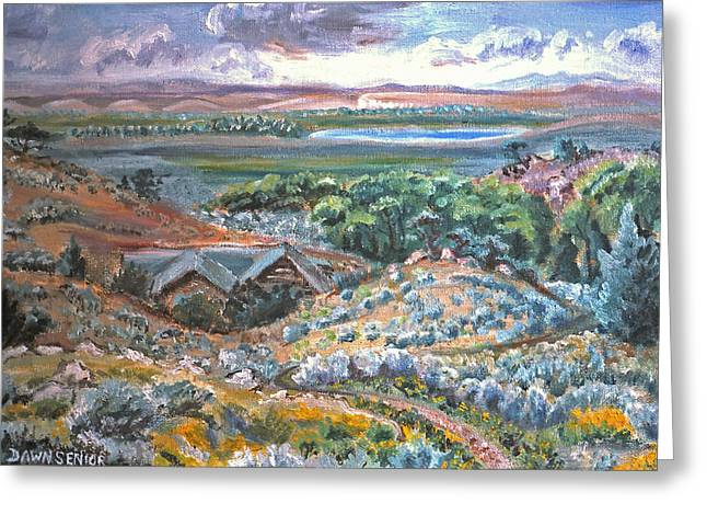 Log Cabins Greeting Cards - My Home Looking West Greeting Card by Dawn Senior-Trask