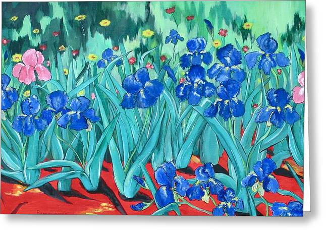Dream Scape Greeting Cards - My Irises Greeting Card by Barbara Remensnyder