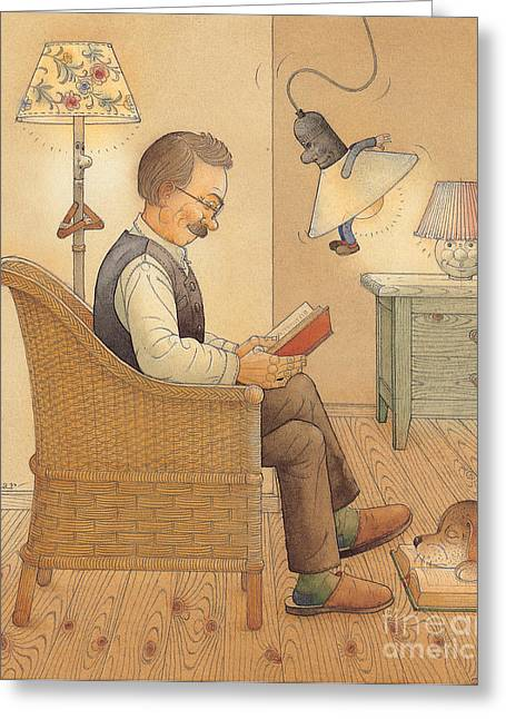 Relaxed. Drawings Greeting Cards - My Lamp Greeting Card by Kestutis Kasparavicius
