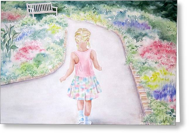 Blonde Girl Paintings Greeting Cards - My Little One Greeting Card by Deborah Ronglien
