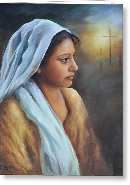 Bible Paintings Greeting Cards - My Mary Greeting Card by Katherine Tucker