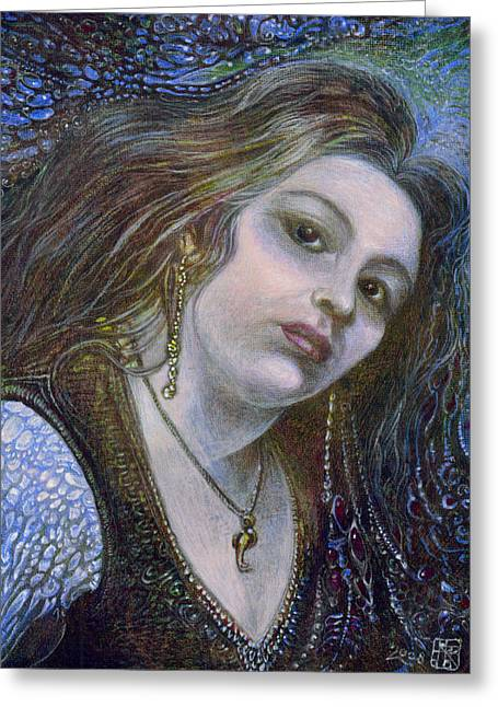 Egg Tempera Paintings Greeting Cards - My Mermaid Christan Greeting Card by Otto Rapp