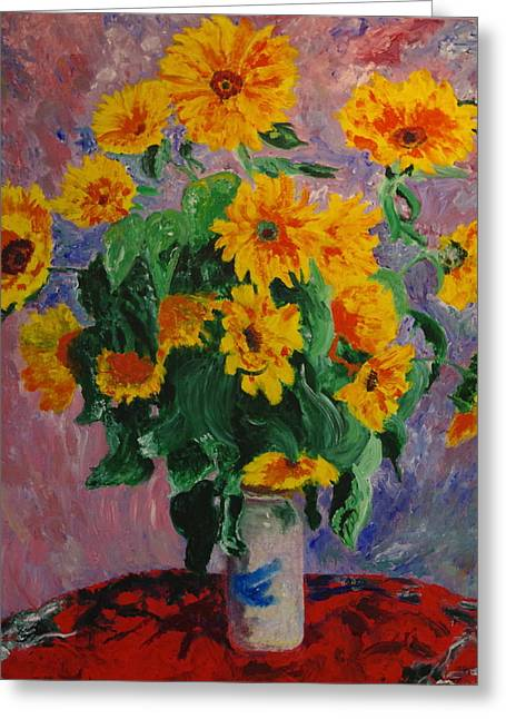 Yellow Sunflower Greeting Cards - My Monet Impression Greeting Card by Linda McMillen