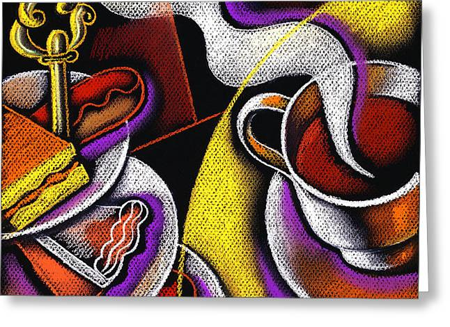 My Morning Coffee Greeting Card by Leon Zernitsky