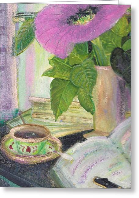 Anne-elizabeth Whiteway Greeting Cards - My Morning Journal Greeting Card by Anne-Elizabeth Whiteway