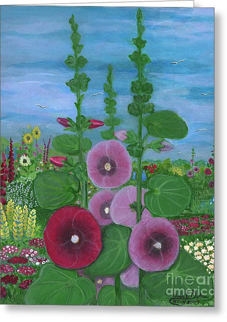 My Mother's Garden Hollyhocks Greeting Card by Anna Folkartanna Maciejewska-Dyba