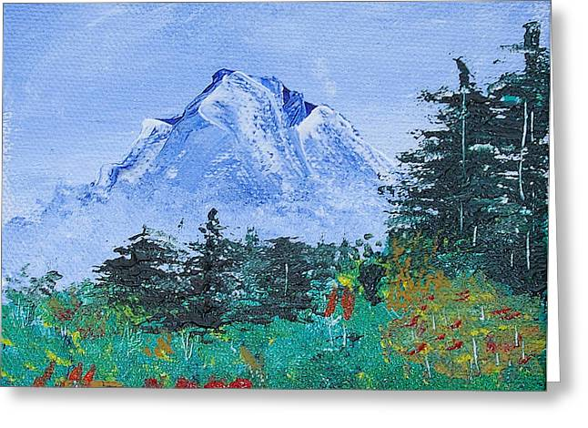 Bob Ross Paintings Greeting Cards - My Mountain Wonder Greeting Card by Jera Sky