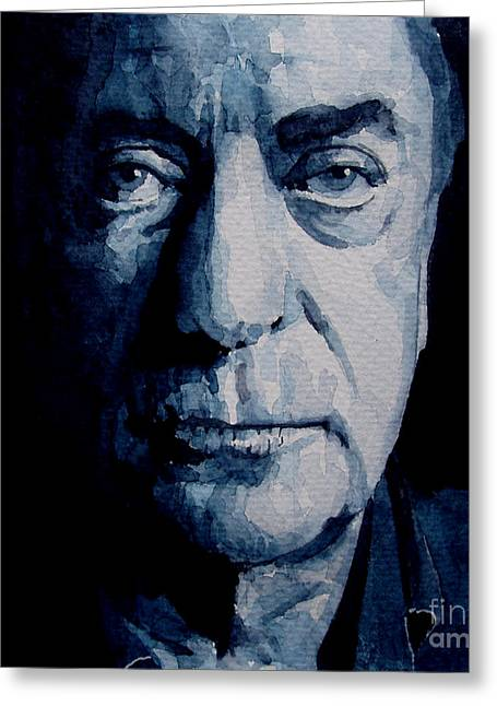 Watercolor Portrait Greeting Cards - My name is Michael Caine Greeting Card by Paul Lovering