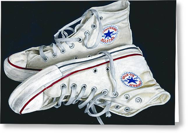 All-star Paintings Greeting Cards - My Old All Stars Greeting Card by Rob De Vries