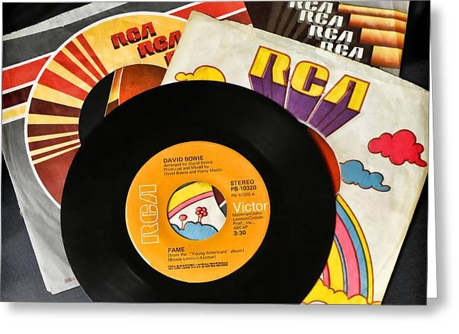 David Bowie 45 Vinyl Record Fame Greeting Card by Athena Mckinzie