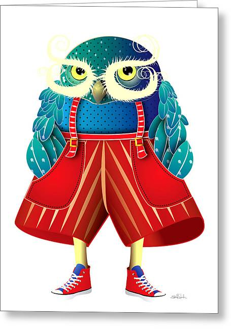Nocturnal Animal Print Greeting Cards - My Owl Red Pants Greeting Card by Isabel Salvador