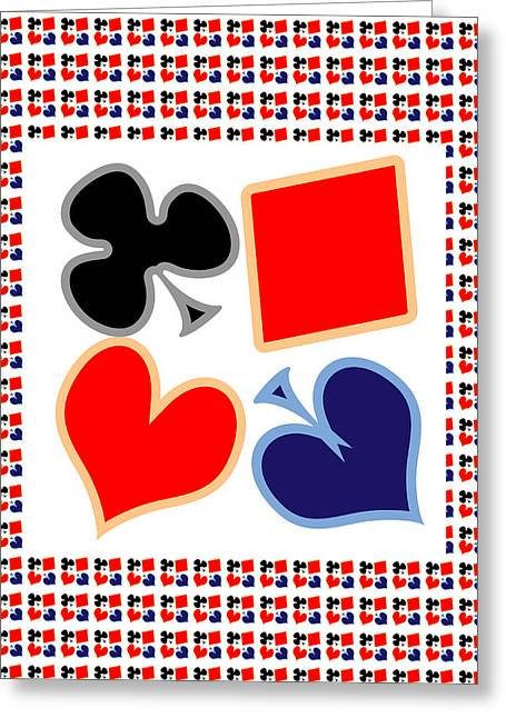 Coins Greeting Cards - My Poker Room Decorations  Heart Spade Clubs Diamond Card Games Collection Greeting Card by Navin Joshi