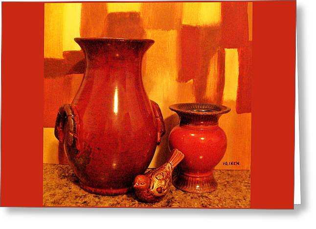 Orangr Greeting Cards - My Pottery Picture Greeting Card by Marsha Heiken
