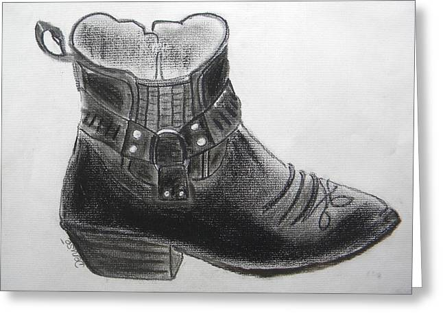 Black Boots Drawings Greeting Cards - My Right Boot Greeting Card by Denise Hills
