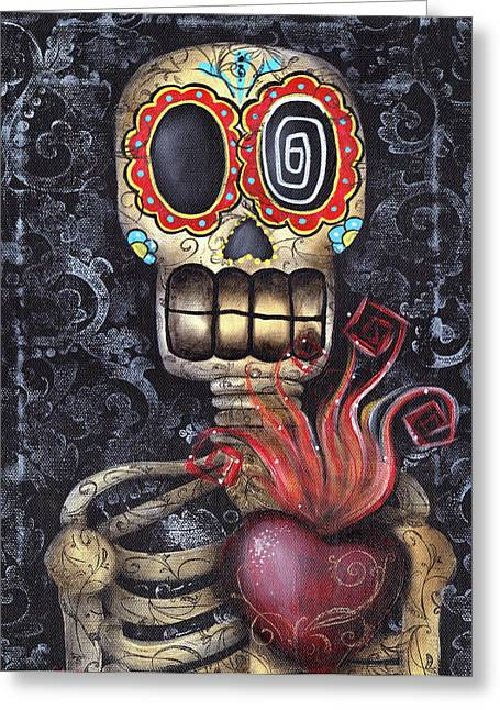 Day Of The Dead Greeting Cards - My Sacred Heart Greeting Card by  Abril Andrade Griffith