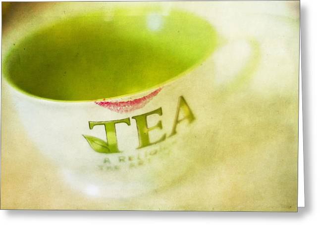 Teacup Greeting Cards - My Second Favorite Beverage Greeting Card by Rebecca Cozart