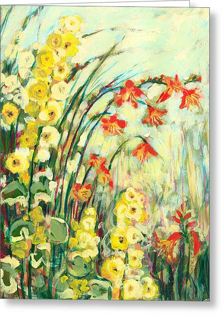 Acrylic. Green Greeting Cards - My Secret Garden Greeting Card by Jennifer Lommers