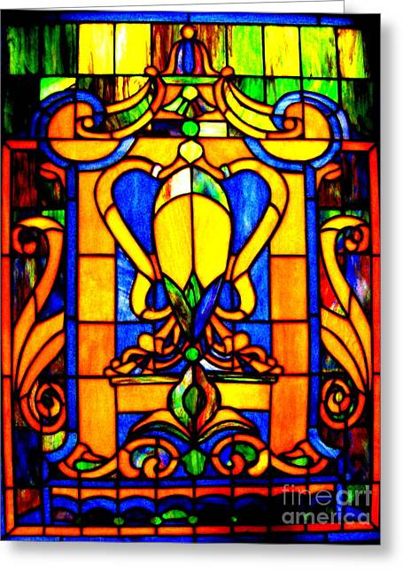 Stainglass Greeting Cards - My Shield Greeting Card by Allen n Lehman