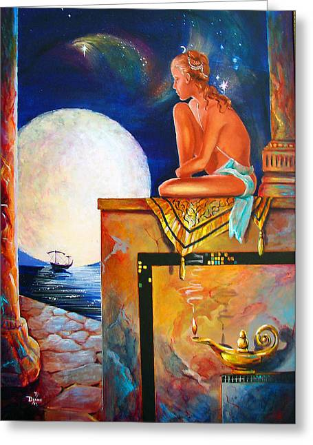 Sea Moon Full Moon Greeting Cards - My Ship Is In Greeting Card by Diane Rose Medlin