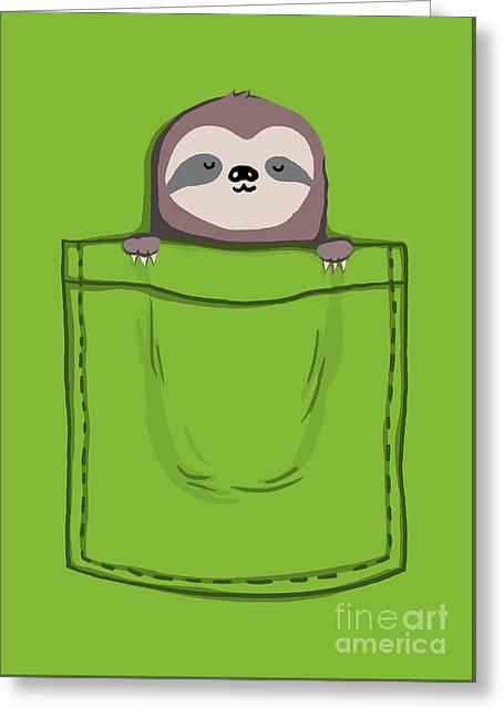 Funny Cartoon Digital Greeting Cards - My Sleepy Pet Greeting Card by Budi Kwan