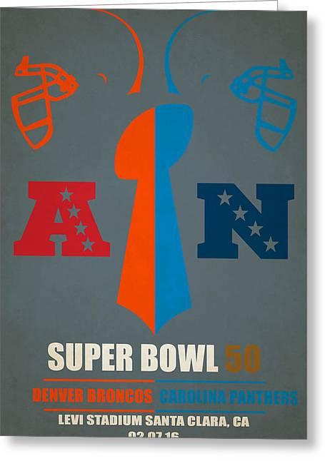 My Super Bowl 50 Broncos Panthers Greeting Card by Joe Hamilton