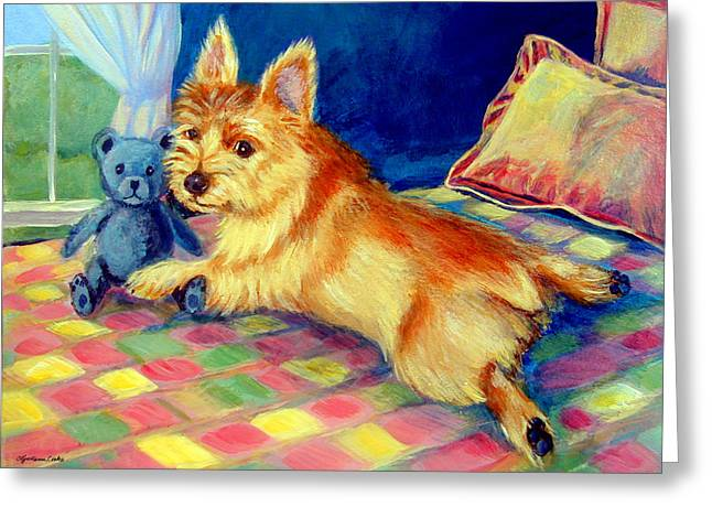 My Teddy - Norwich Terrier Greeting Card by Lyn Cook