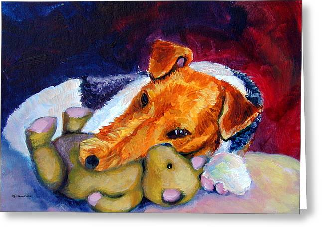 Puppies Paintings Greeting Cards - My Teddy - Wire Hair Fox Terrier Greeting Card by Lyn Cook