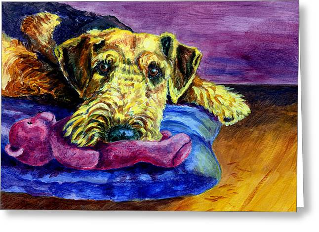 Puppies Paintings Greeting Cards - My Teddy Airedale Terrier Greeting Card by Lyn Cook