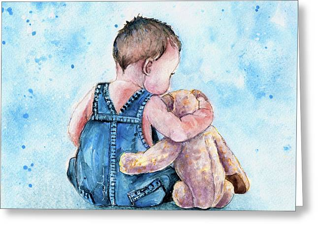 My Teddy And Me Greeting Card by Miki De Goodaboom